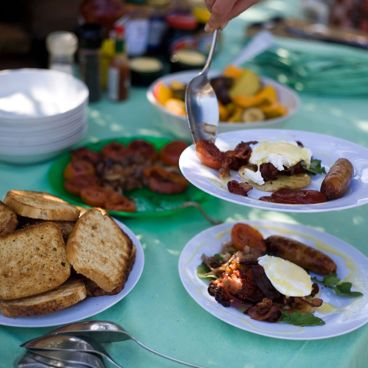 Variety of breakfast foods including toast and eggs